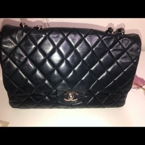 Chanel Maxi Jumbo Quilted Matelasse Chain Shoulder